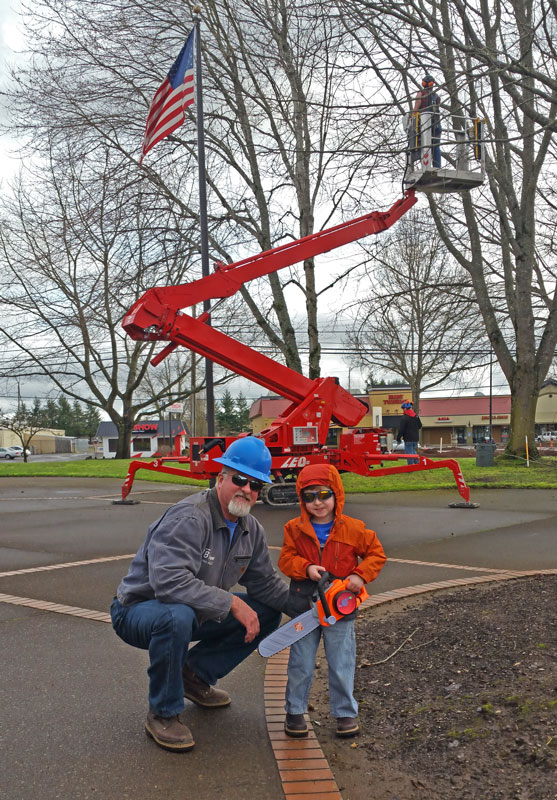 Tim and son at commercial tree job
